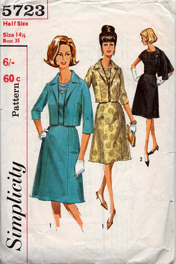 1960s Dress and Waist Length Jacket Vintage Sewing Pattern - Simplicity 5723 Bust 35 Half Size