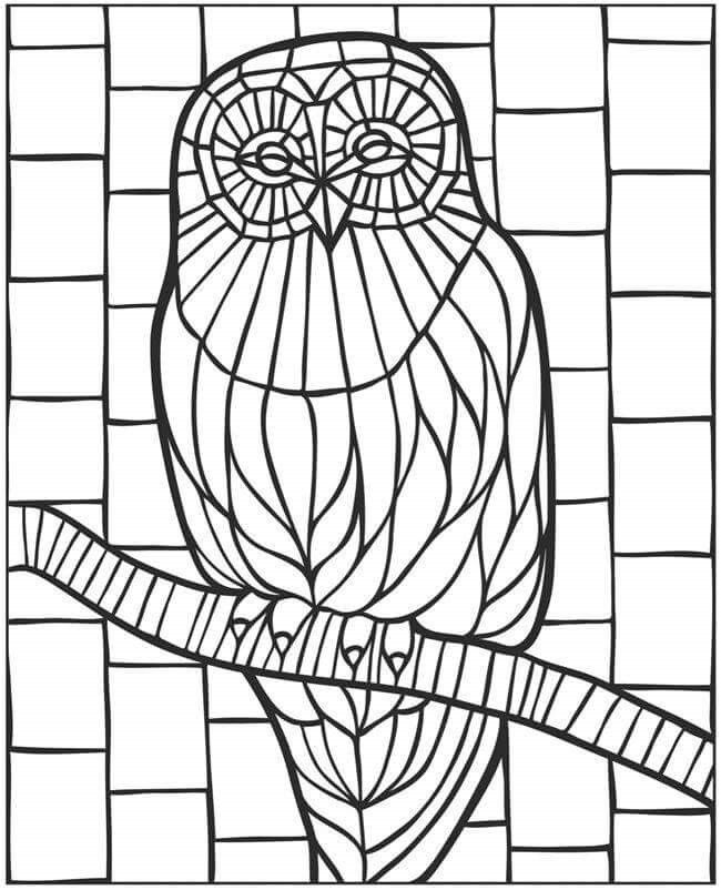 Veo Veo Owl Coloring Pages Free Mosaic Patterns Owl Mosaic