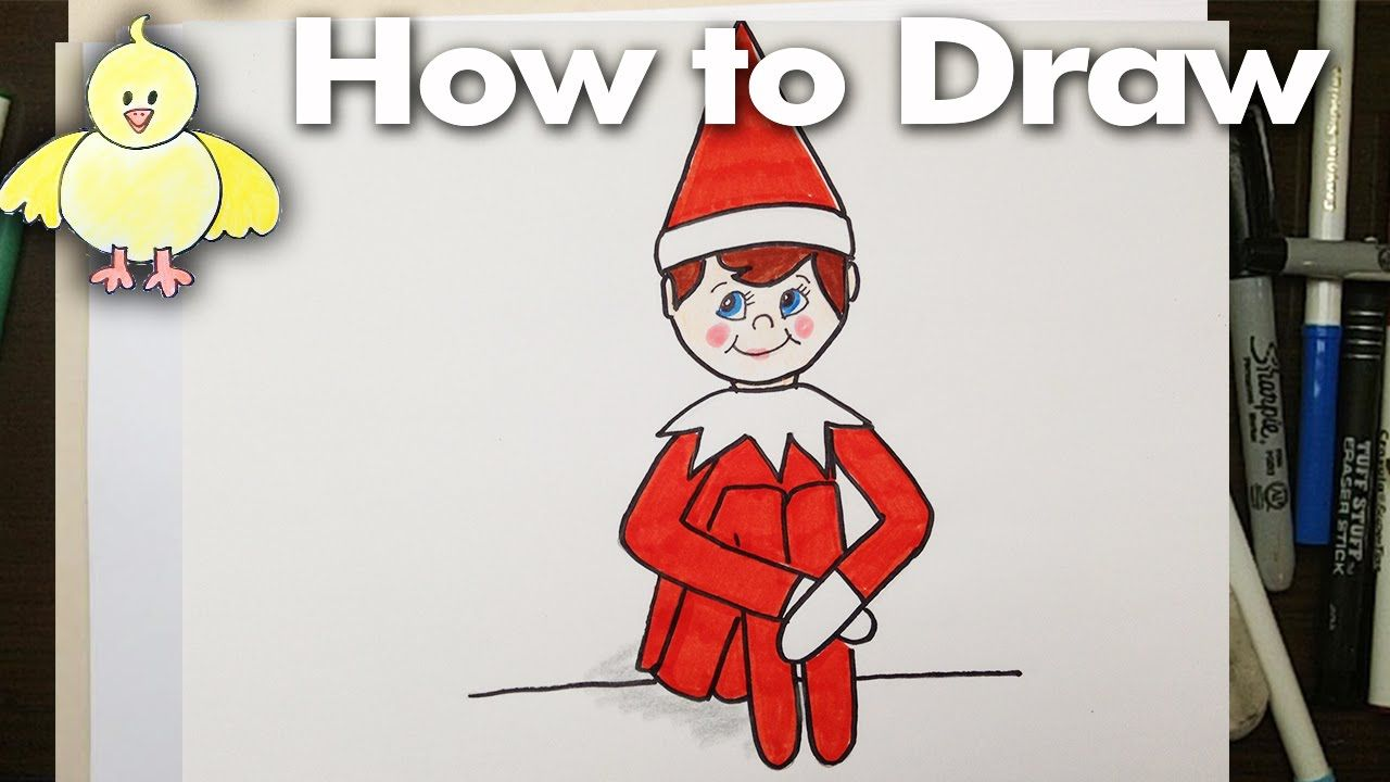 How To Draw An Easy Elf On A Shelf For Beginners Elf Drawings Drawings Elf Cartoon