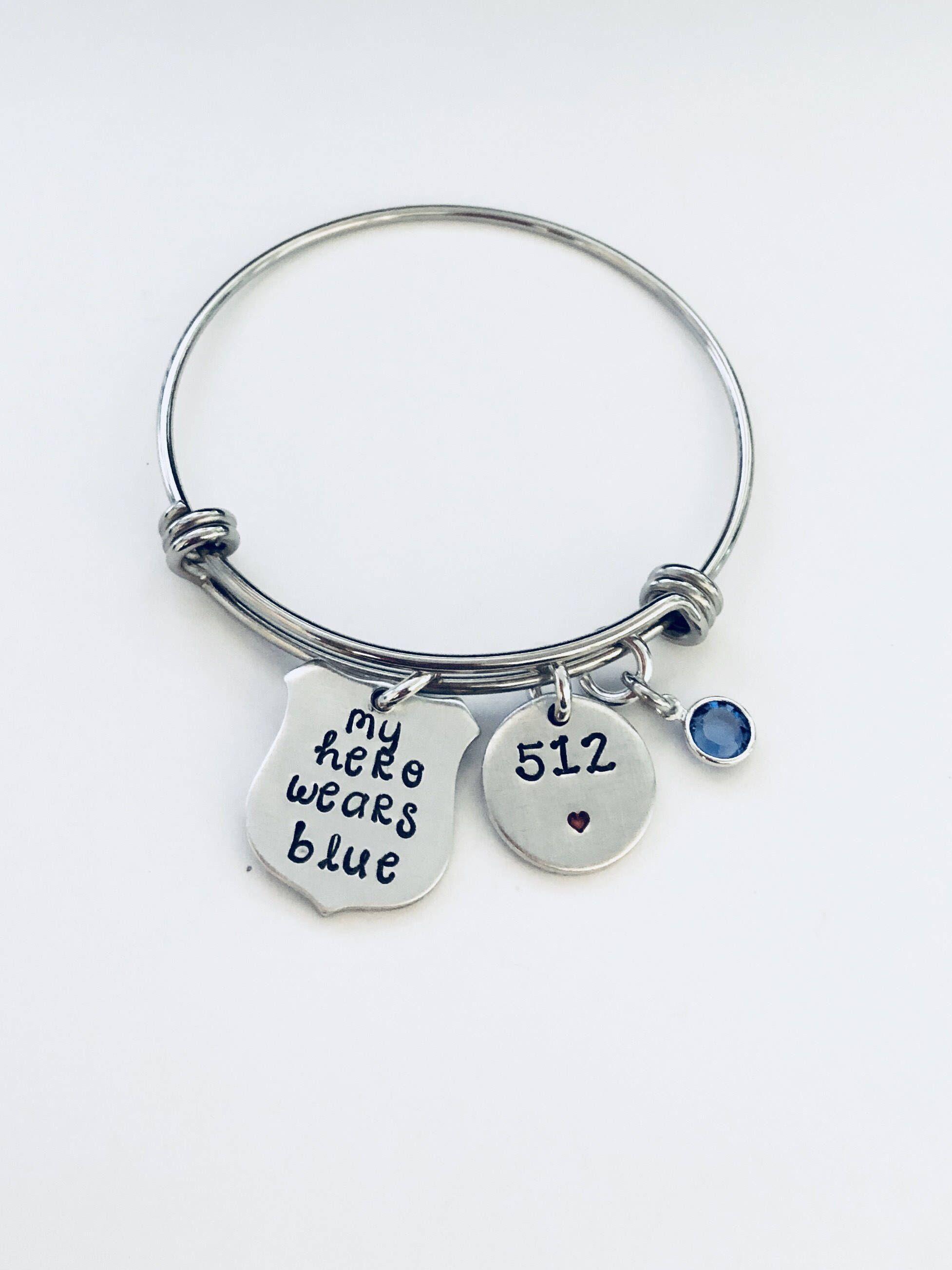 Police Wife Bracelet Adjule Bangle Thin Blue Line Jewelry Gift