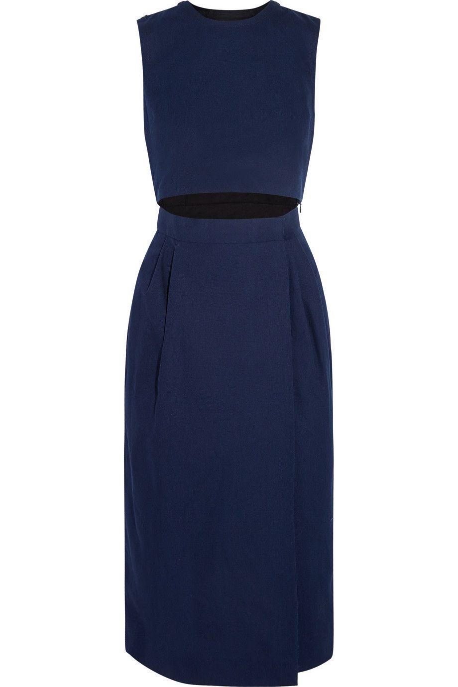 Storm Blue Cutout Cotton Canvas Midi Dress Victoria Victoria Beckham Designer Dress Sale Dresses Midi Dress [ 1380 x 920 Pixel ]