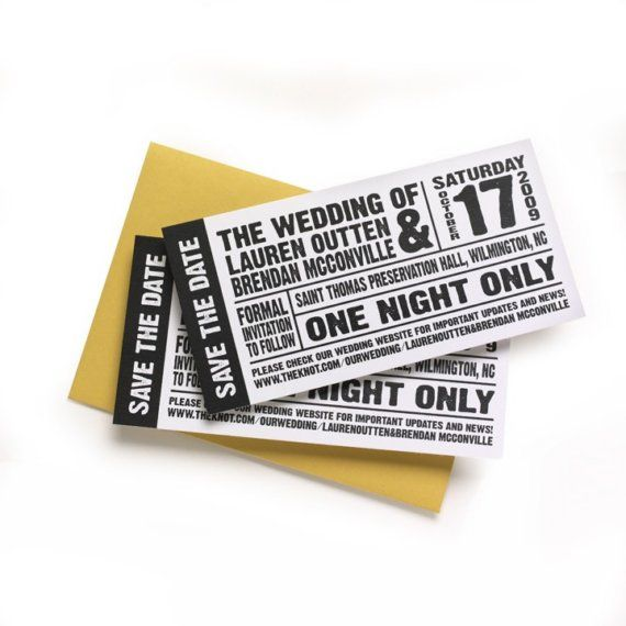 Save the Date Event Tickets SAMPLE by marit522 on Etsy, $275 - invitation event sample