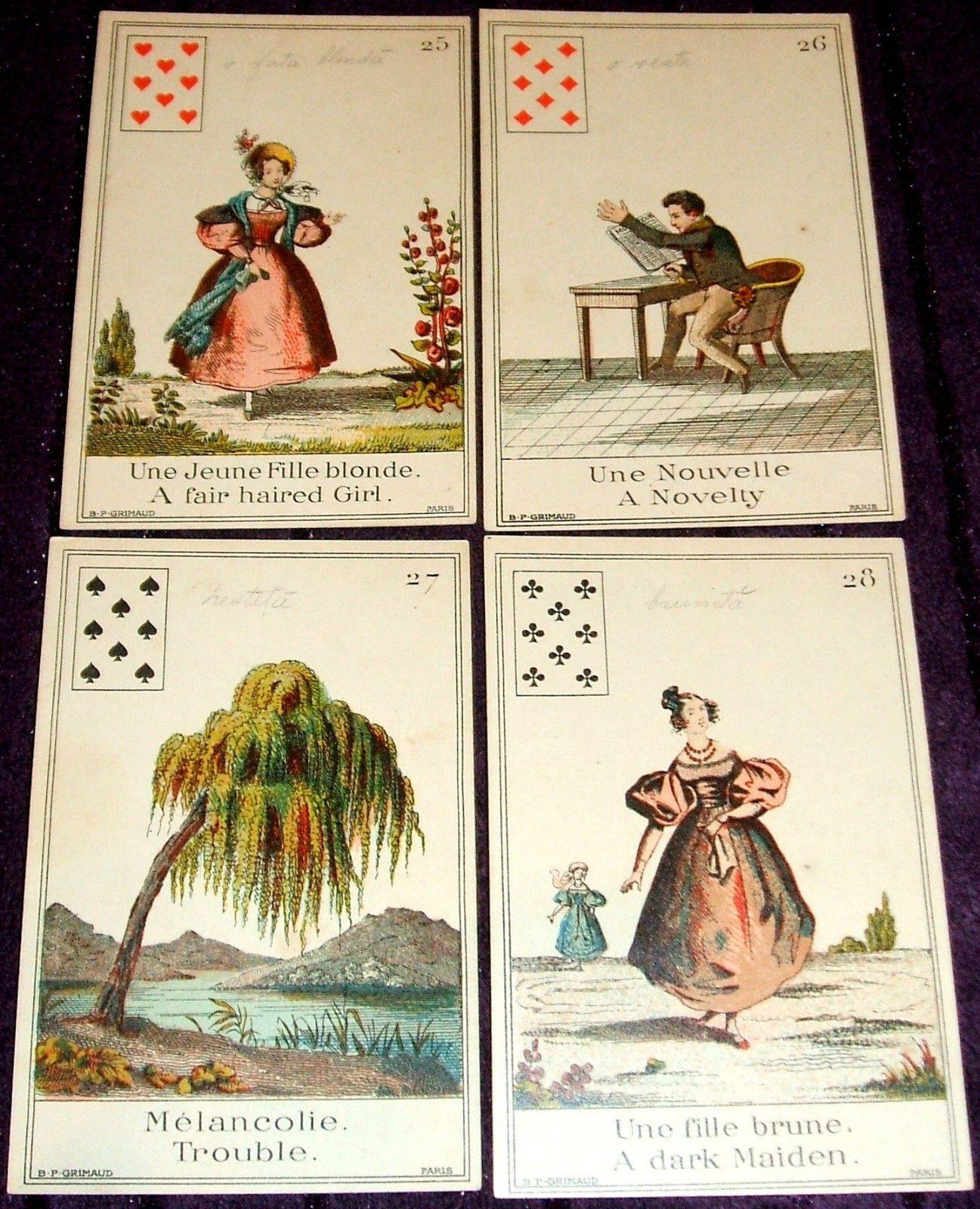 1890 The Book Of Fate Livre Du Destin Tarot Complete Cards Set By B P Grimaud Card Set Tarot Cards