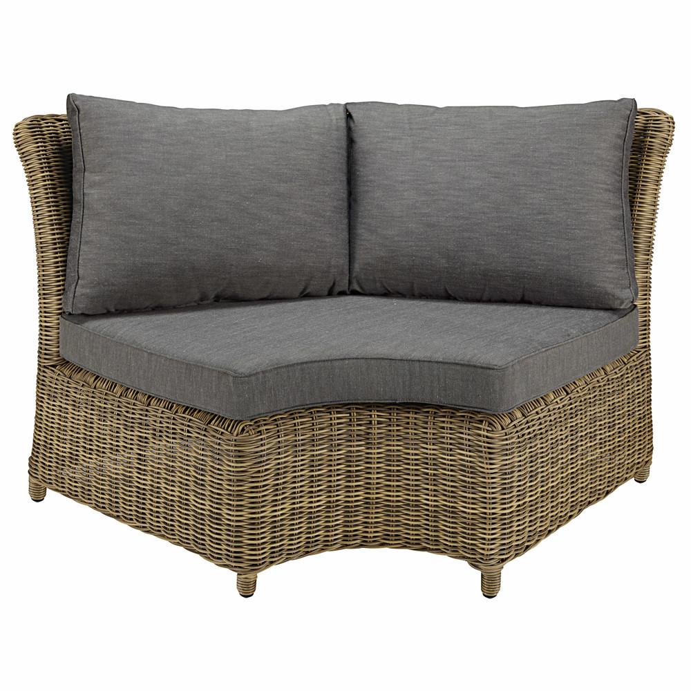 Angle rond de canapé de jardin en résine tressée et coussins ...