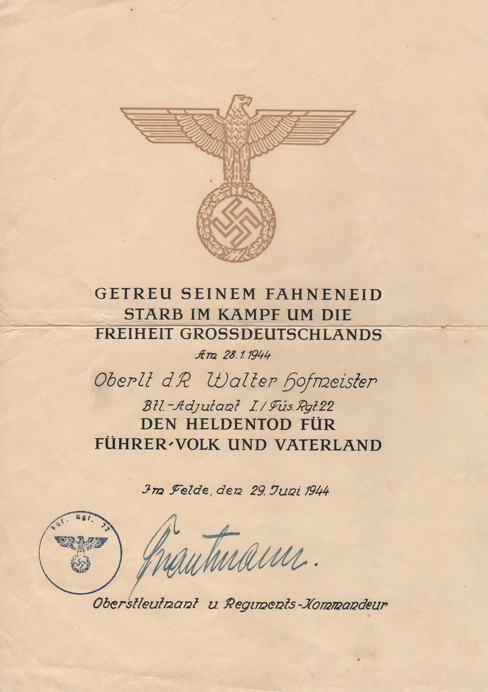 This Is An Official German Military Death Certificate Issued To The