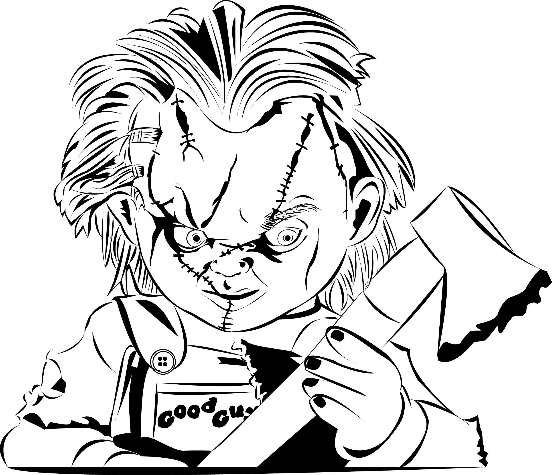 Chucky Clipart Black And White: Jeux De Coloriage De Chucky