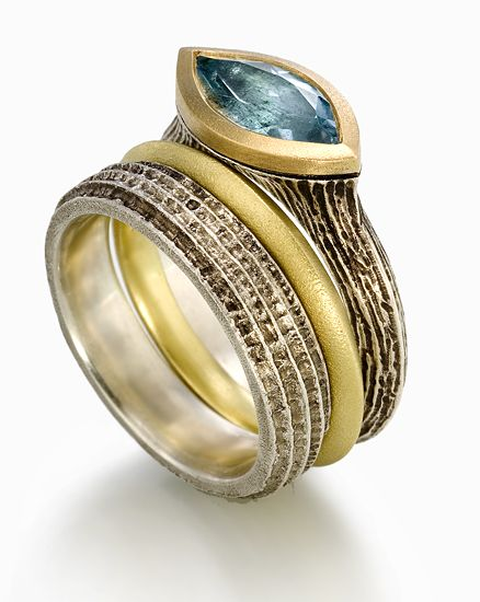 Earth Elements with Blue Topaz Set: Susan Barth: Silver, Gold & Stone Rings - Artful Home