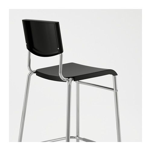 Groovy Ikea Stig Black Silver Color Bar Stool With Backrest Bar Gmtry Best Dining Table And Chair Ideas Images Gmtryco