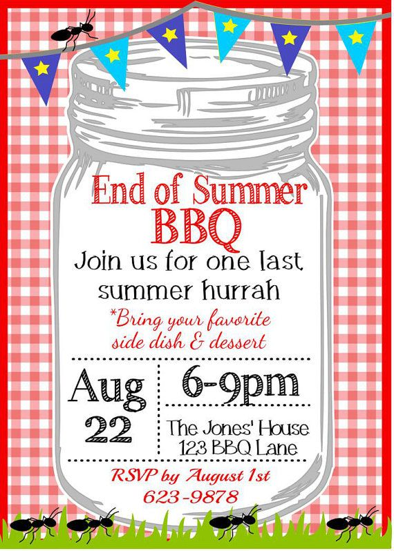 backyard end of summer bbq party invitation by upstairsoriginals