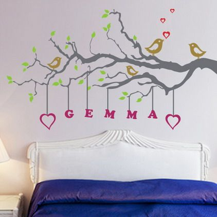 Beautiful Birds And Tree Wall Stickers Decals With Name Quotes In