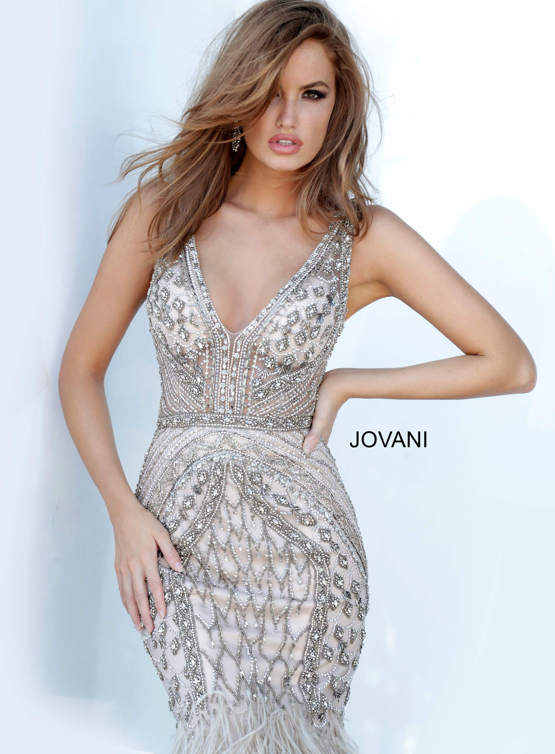 Jovani 02798 Silver Beaded Mermaid Dress With Feather In 2020 Long Sleeve Evening Gowns Jovani Evening Dress Sparkly Prom Dresses