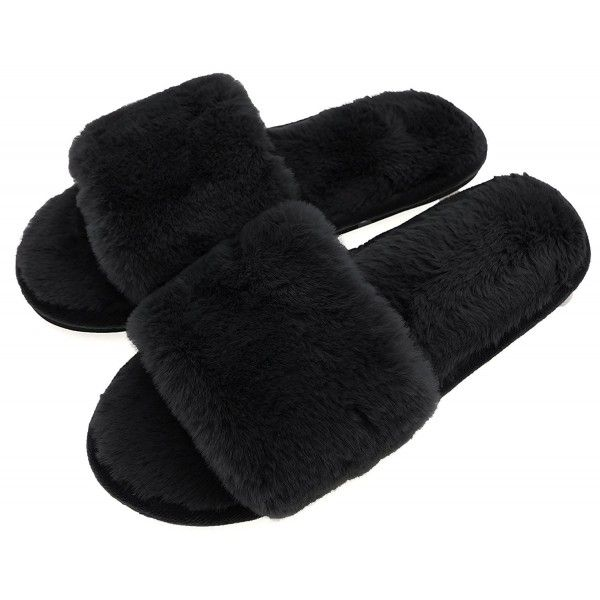 bc526c5525a0 Women's Shoes, Slippers, Womens Fuzzy Fluffy Thick Winter Slipper Shoes  Open Toe Indoor Outdoor - Black - C61899HEQDH #shoes #Slippers #Fashion # women # ...
