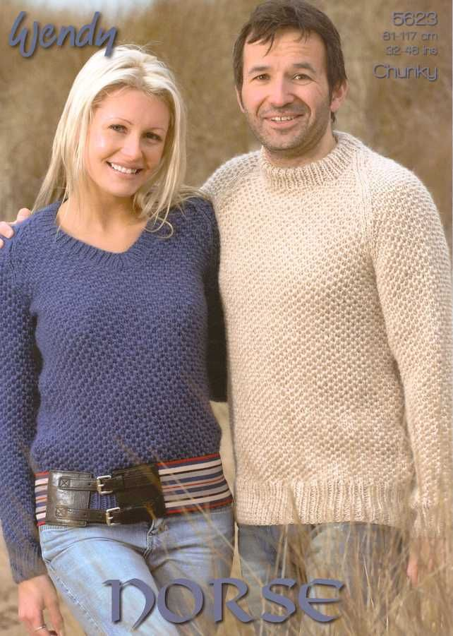 KNITTING PATTERN WENDY 5623 HIS AND HER ROUND AND V NECK SWEATERS £2.60