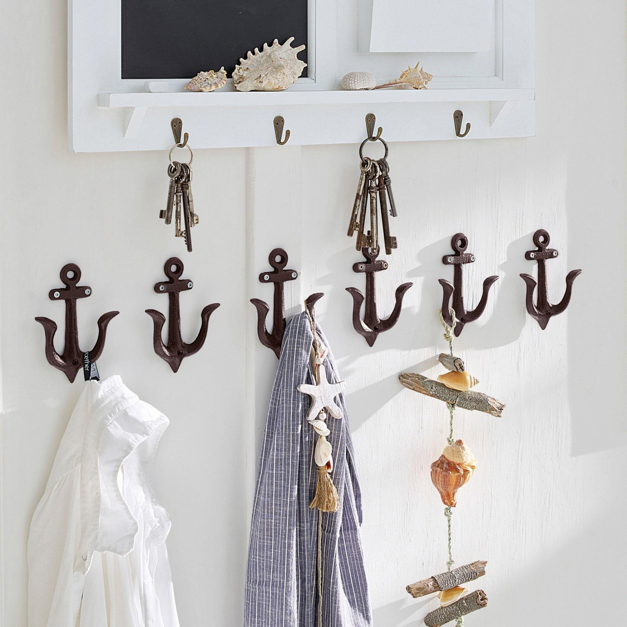 Haken 6er Set Ancre Dunkelbraun Loberon Kinderzimmer Dekor Maritime Einrichtung Dekoration Badezimmer