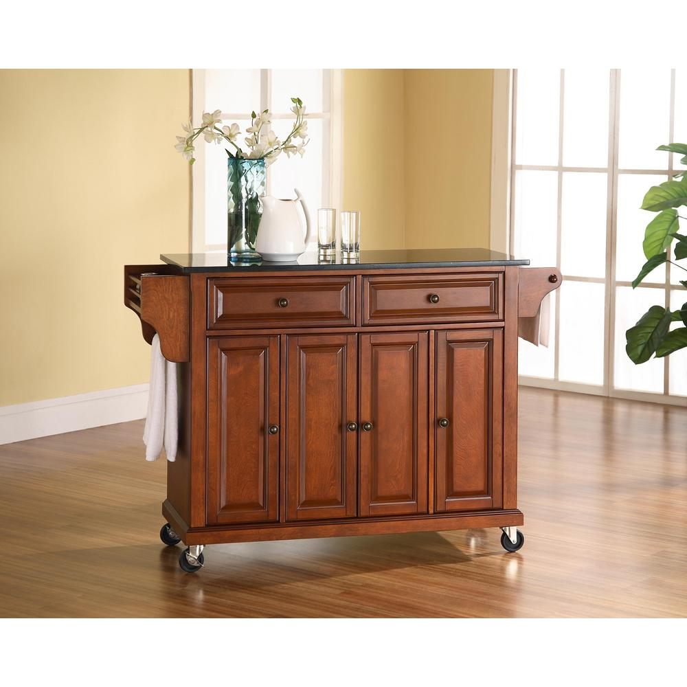 Crosley Black Kitchen Cart With Natural Wood Top Black With Natural Top Products Kitchen Island With Granite Top Granite Kitchen Kitchen Cart