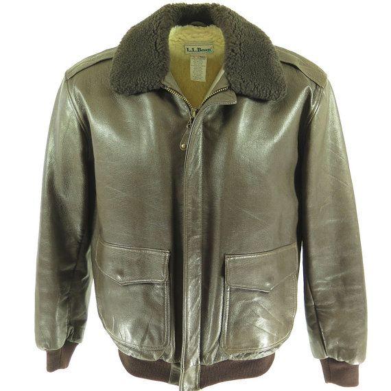 Vtg Ll Bean Flight Bomber Leather Shearling Mouton Jacket Mens L Tall H10n 4lb 12oz Leather Jacket Men Jackets Mens Jackets