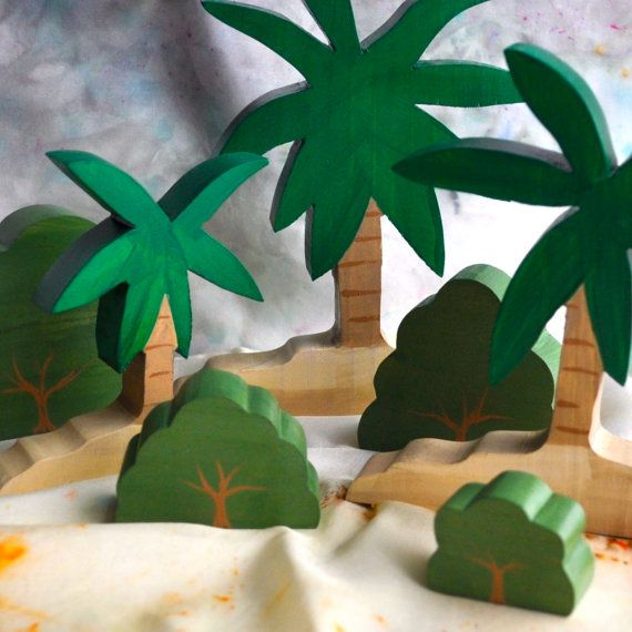 Wooden Toy,  Tropical Island Forest Set - Landscape Play / Waldorf Toy