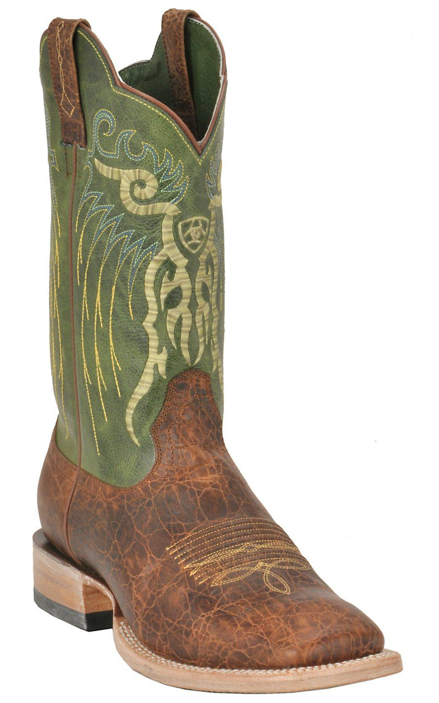 Ariat Men's Mesteno Adobe Brown with Neon Green Triple Welt Square ...