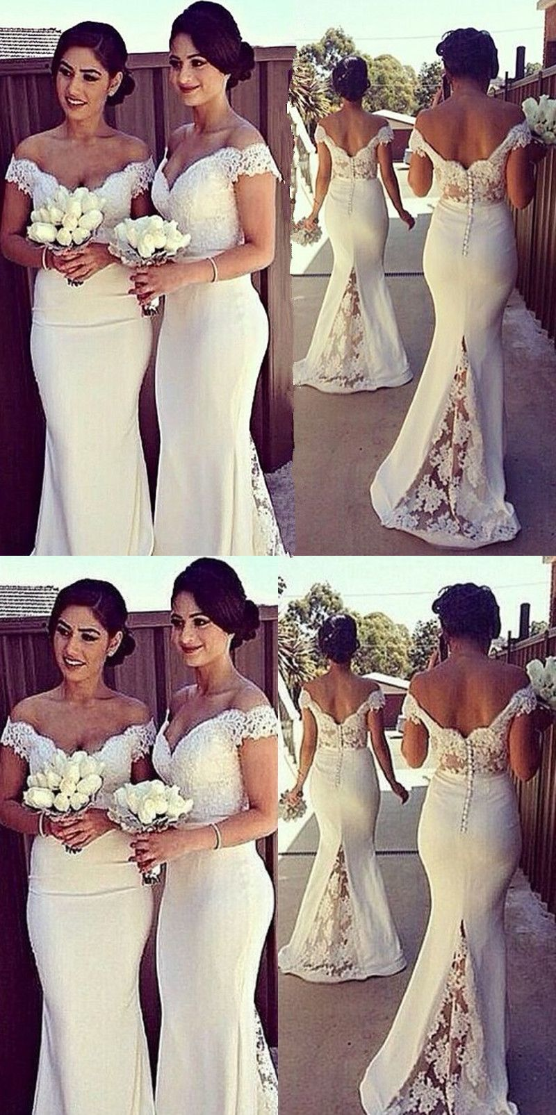 Honorable White Off The Shoulder Floor Length With Lace Bridesmaid Dress Mermaid Bridesmaid Dresses White Bridesmaid Dresses Lace Bridesmaid Dresses [ 1605 x 800 Pixel ]