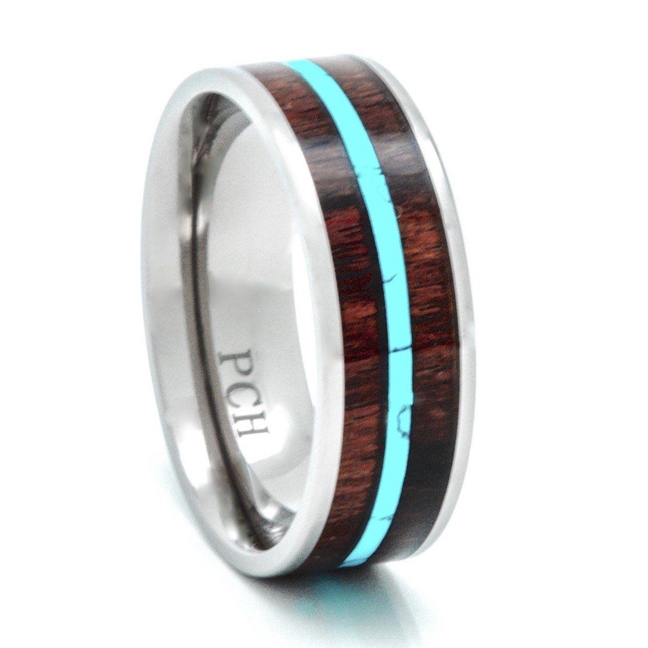 Titanium hawaiian koa wood and turquoise inlay wedding band ring mm