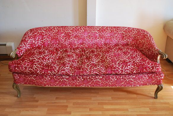 Fabulous Vintage Red Floral Sofa in Greenpoint, Brooklyn ~ Apartment ...