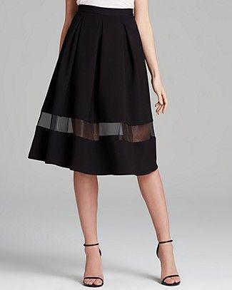 AQUA Skirt - Sheer Inset Midi | Bloomingdale's // Sweet Skirt!