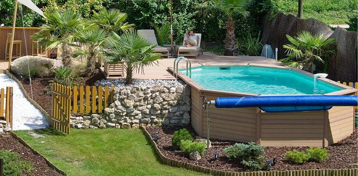 Piscine hors sol en bois dans mon jardin pinterest for Photo amenagement piscine