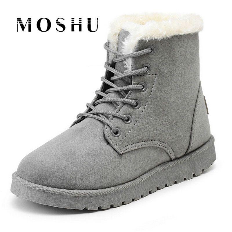 3ccd442b6 Barato Mulheres Botas de Camurça Botas de Neve de Inverno Ankle Boots  Femininas Sapatos de Inverno Morno Mulher Dedo Do Pé Redondo Botas Mujer,  ...