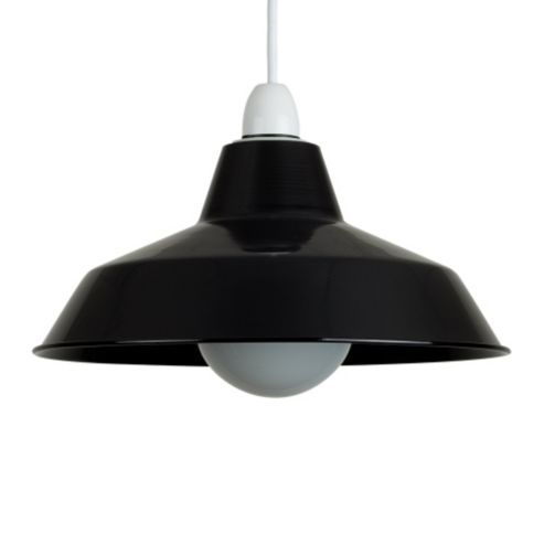 Buy colby retro style metal ceiling light shade in gloss black from our bathroom lighting range