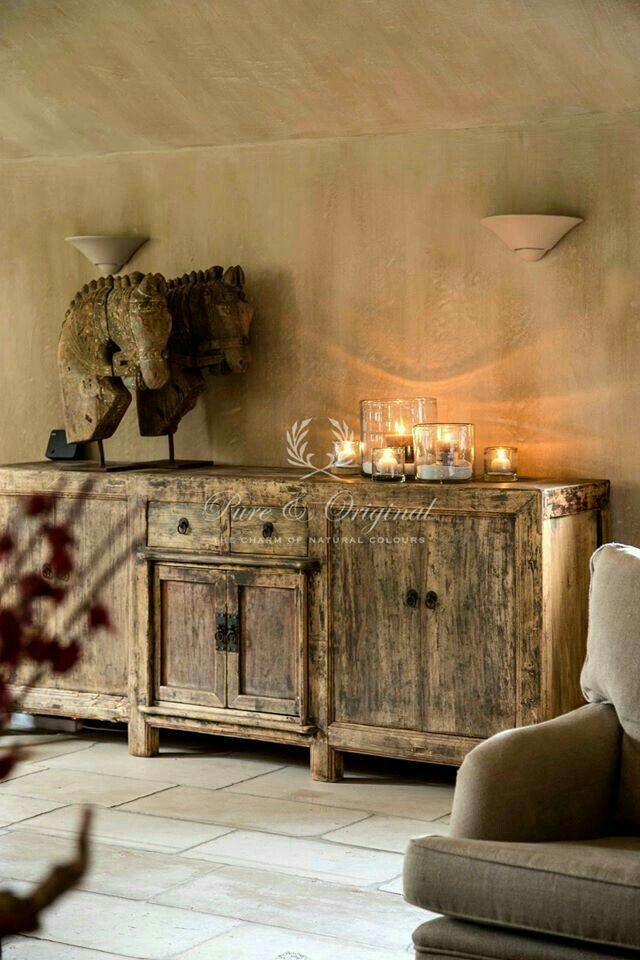 kaars decoratie rustieke interieurs opnieuw inrichten safari chique consoles kasten golven ruimtes witkalken