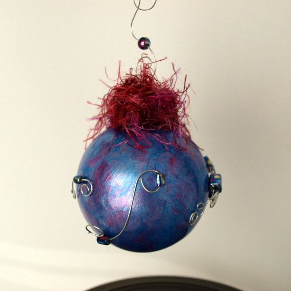 Hand Painted Glass Ornament With Wire and Glass Beads $12.50 #etsy #handmadebot