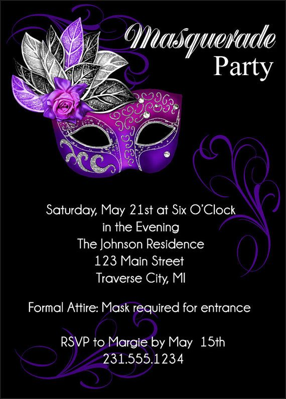 Masquerade party invitation mardi gras party invitation sweet 16 masquerade invitations for Maquerade invitations