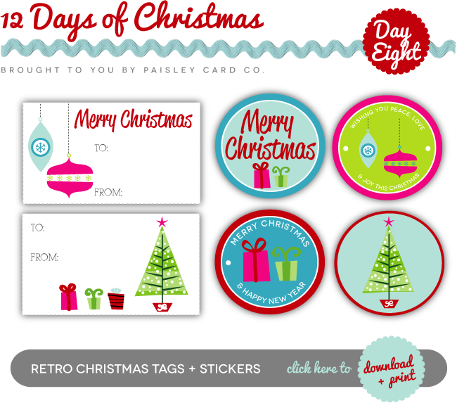 Superior Christmas Gift Label Stickers Part - 9: Free Retro Christmas Gift Tags U0026 Stickers Via Paisley Card Co. #printables