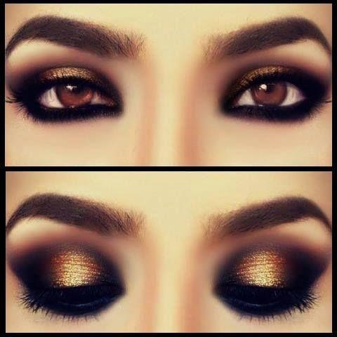 maquillaje de ojos dorado negro y brillo