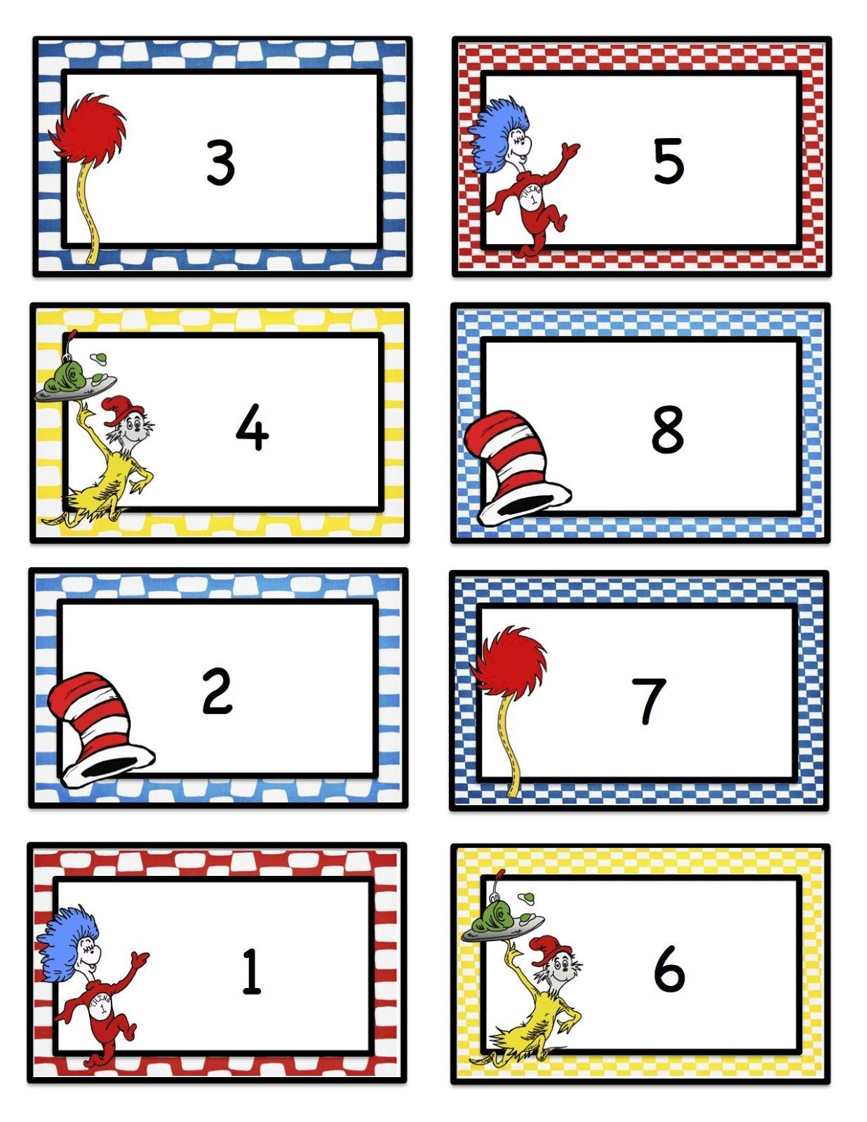 Preschool Printables Number Cards Seuss Inspired