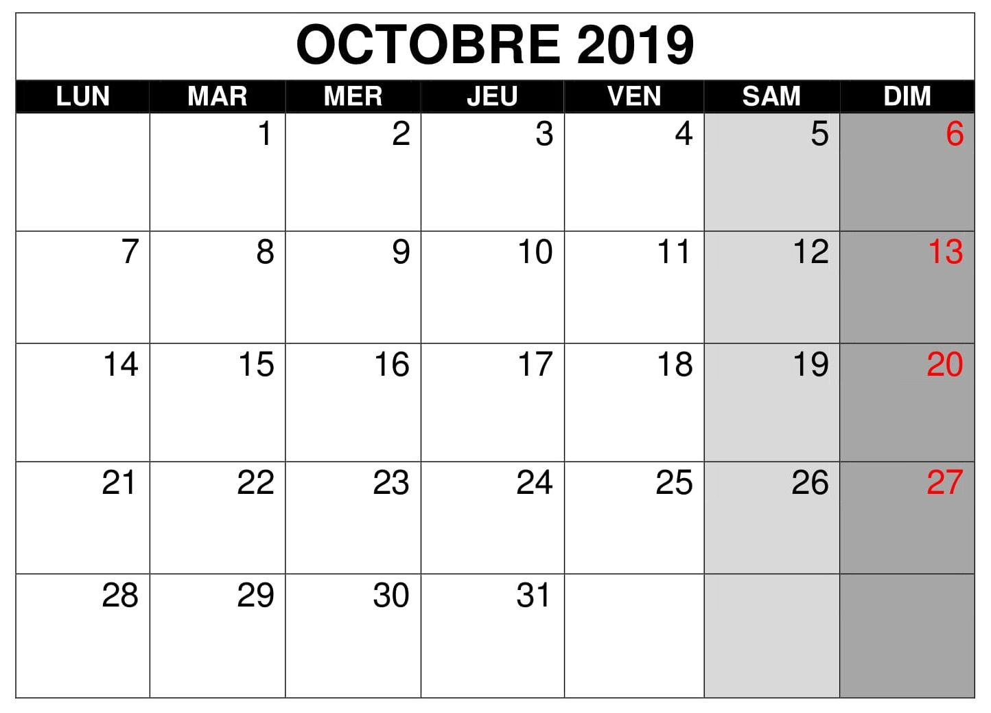 Calendrier 2019 Word Modifiable.Calendrier 2019 Mois Octobre Pdf Words