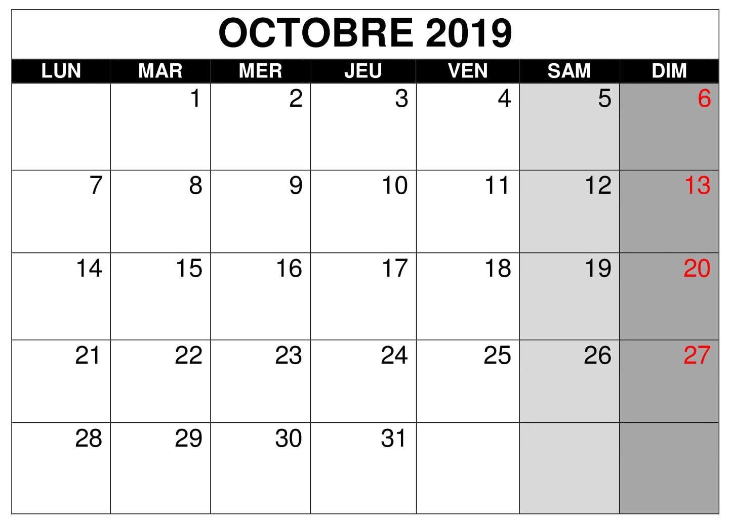 Octobre Calendrier 2019.Calendrier 2019 Mois Octobre Pdf Words