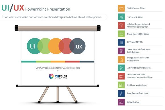 UI\/UX PowerPoint Presentation by ORCOLOR on Creative Market - resume powerpoint template