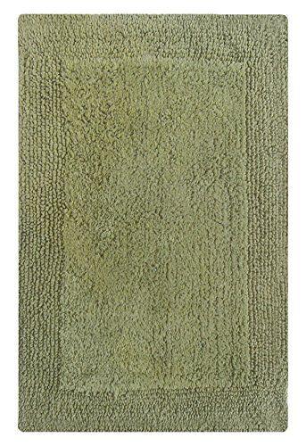 Chardin Home Pure Cotton Splendor Reversible Bath Rug Highly Absorbent Heavy Duty Bathroom Mat Sage Green