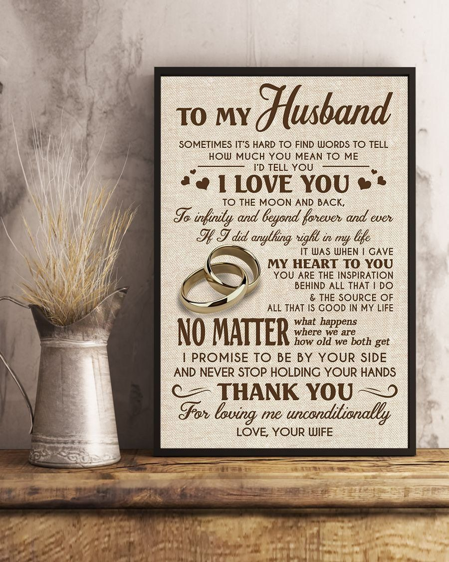 Perfect gifts for husband to my husband poster gifts