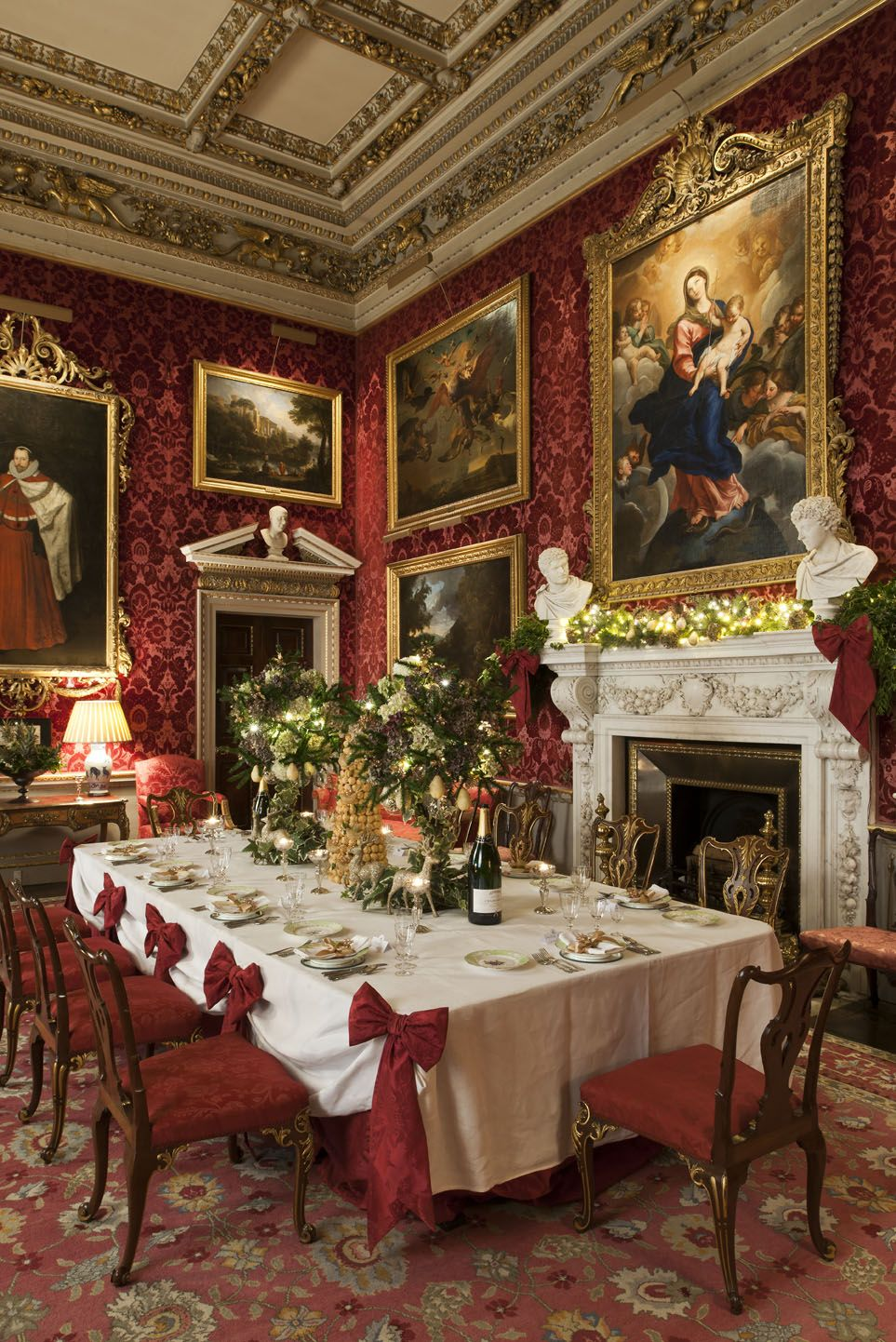 Chatsworth House Room: The North Dining Room With The Table Set Ready For The