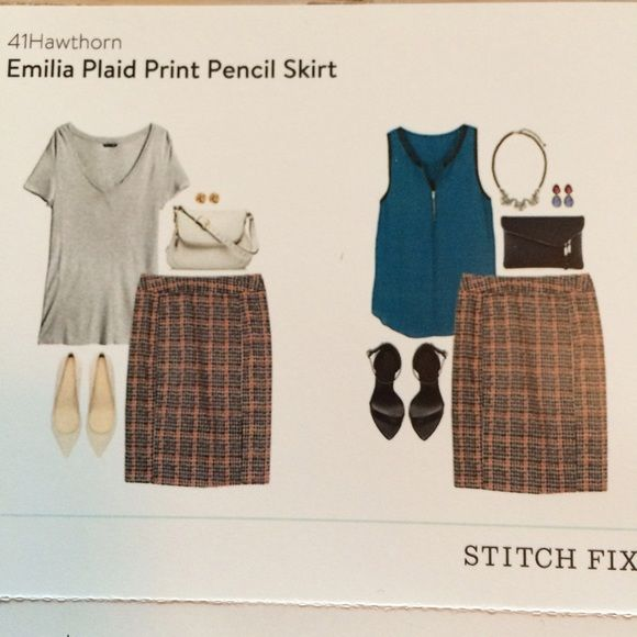 41 Hawthorn Emilia Plaid Print Pencil Skirt This skirt will impress them all at your office and your interview. It goes so well with blouses and heels. It is extremely flattering with a little slit in the back. 41 Hawthorn Skirts Pencil