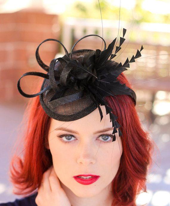 Black Tea Party Hat Fascinator - Kentucky Derby Hat - Wedding Hat - English  High Tea Hat d8f211fe85d