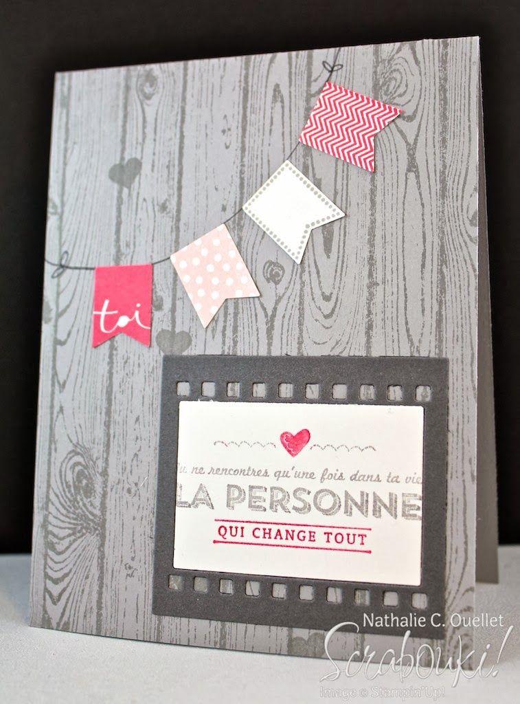 Carte de souhaits avec les produits Stampin'Up! par Scrabouki!  Card, Banner, Perforatrice bannières, Sale-A-Bration 2014