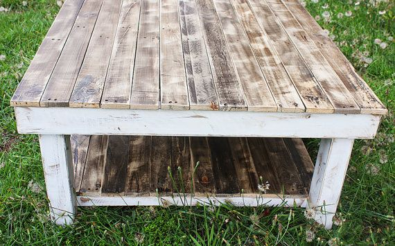 White Shabby Farmhouse Reclaimed Wood Coffee by YonderYearsShop