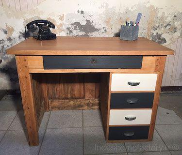 Bureau Vintage Relooké Ivalo Indushomefactoryfr Bureau