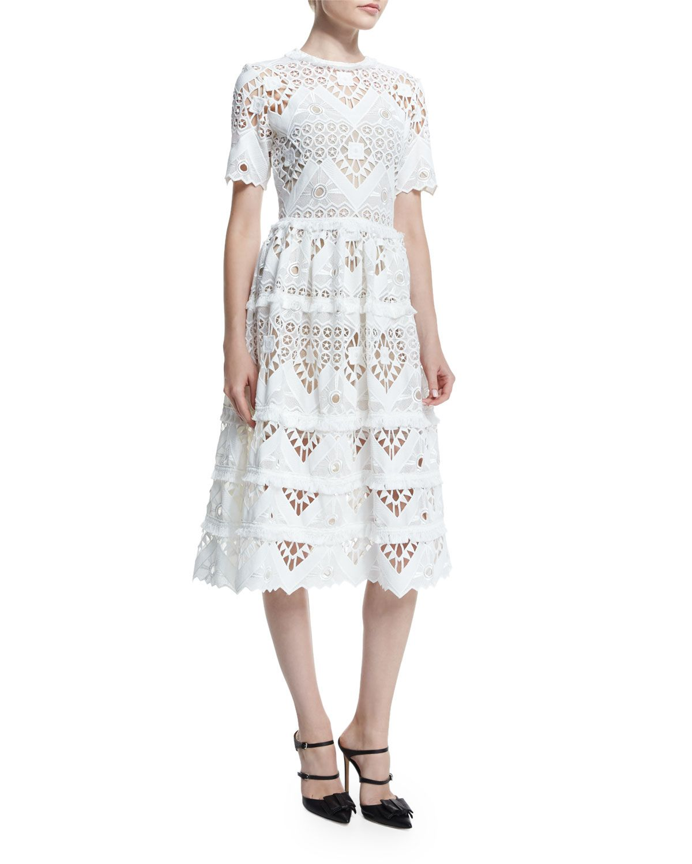 9df8fea6b747 Alexis Benati Crochet Short-Sleeve Midi Dress, White
