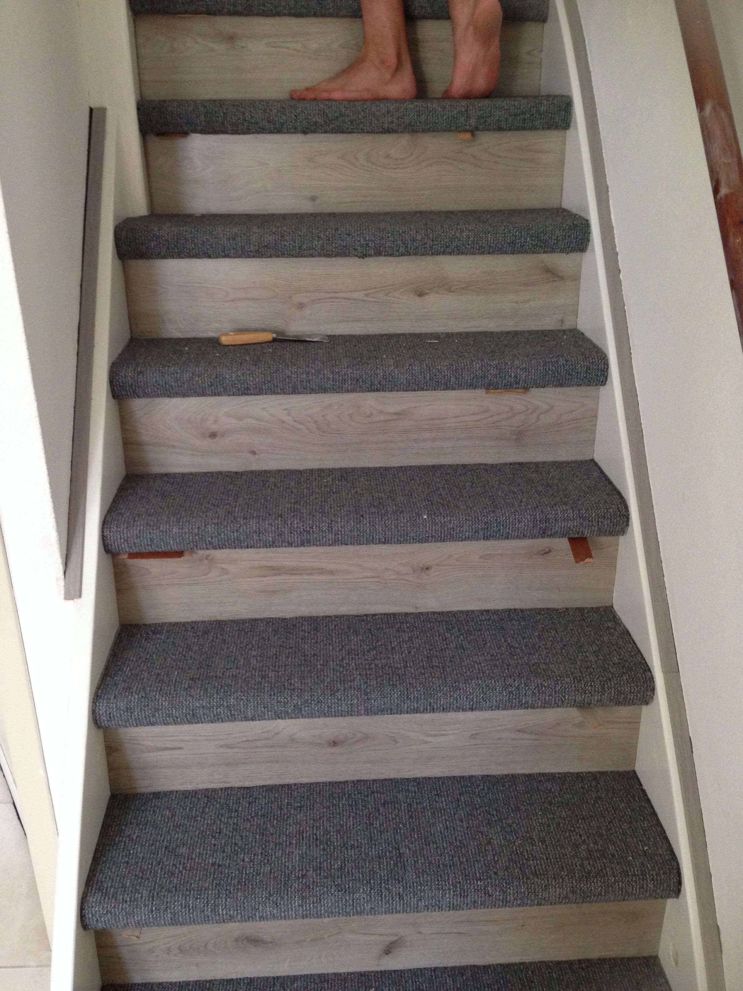 Hickory Flooring Risers With Carpet Treads To Transition From Downstairs Wood Flooring To Upstairs C Laminate Flooring On Stairs Carpet Staircase Carpet Stairs