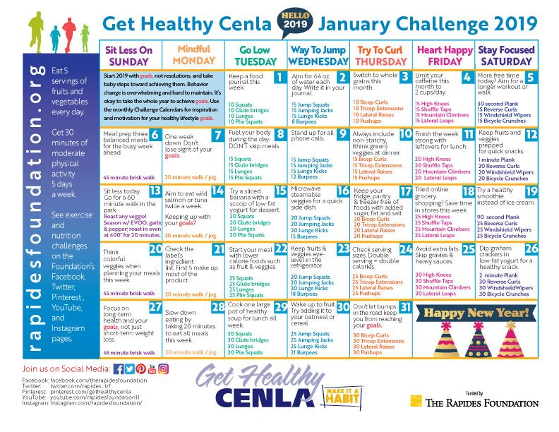 Have a Healthy New Year! | Challenge Calendars | Monthly challenge