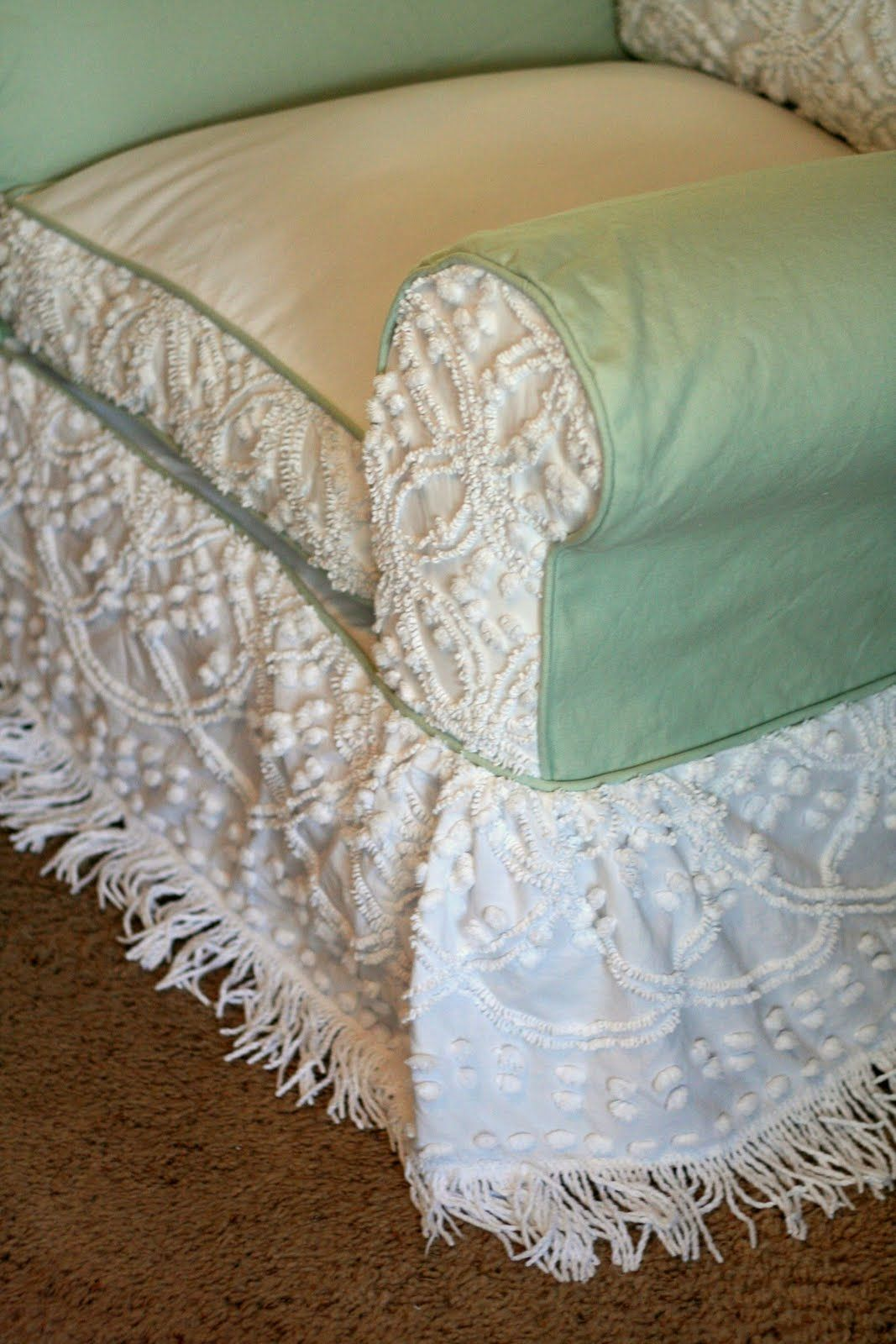 Custom slipcovers by shelley chenille bedspread chair